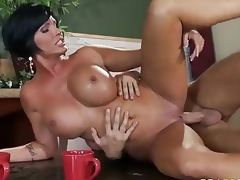 Who ca resist a milf like this? Milfy good looker Shay Fox with perfect huge tits is fuck hungry. Topless Shay Fox acquires face fucked on her knees before deep pussy penetration.