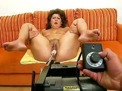 Older horny granny Gigi plays with sex toys before getting rammed with a youthful throbbing cock