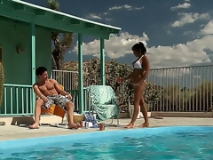 Highly hot and horny milf India Summer approaches her guy by the pool hoping that there will be some wild action to satisfy her lust.