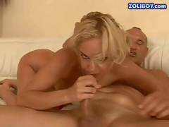 Wild and hot blonde momma with firm boobs and constricted ass enjoys in riding a hard and meaty knob on the white leather couch and sucks it for some cum