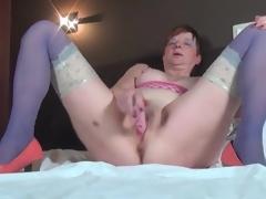 Masturbating older sweetheart in blue nylons
