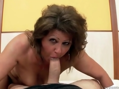Chubby mature grinds her fur pie on his dick