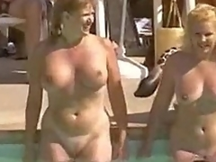 Curly natural pussies at pool party
