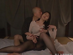 Hitomi Oohashi is an arousing mature Asian model. Her horny boyfriend enjoys her hot body and gets straight to her pussy and is tonguing her slit mercilessly! She has many orgasms, and in turn sucks his cock like a porn star previous to that guy fucks her deep cleavage and cums on her pleasing mountains!