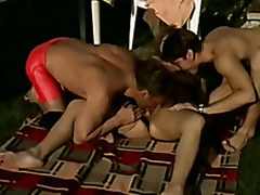 Chubby Outdoor Older DP ThreeSome