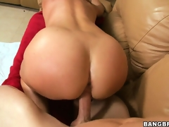 Hairless slit MILF gets her world rocked when he drills her on the couch